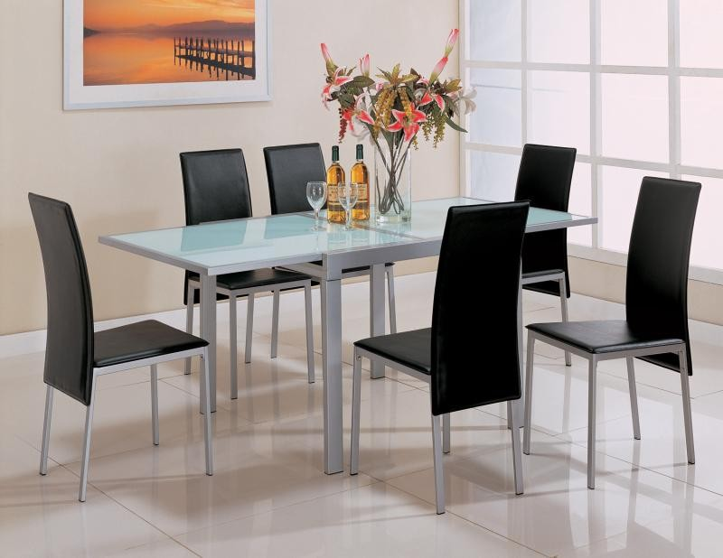 Sunrise Frosted Glass Dining Set - Smoked glass dining table and chairs