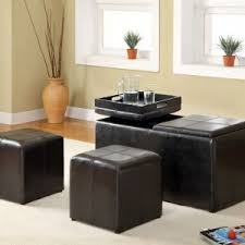 Carline 3pc. ottoman with storage and flip tray and nesting ottomans