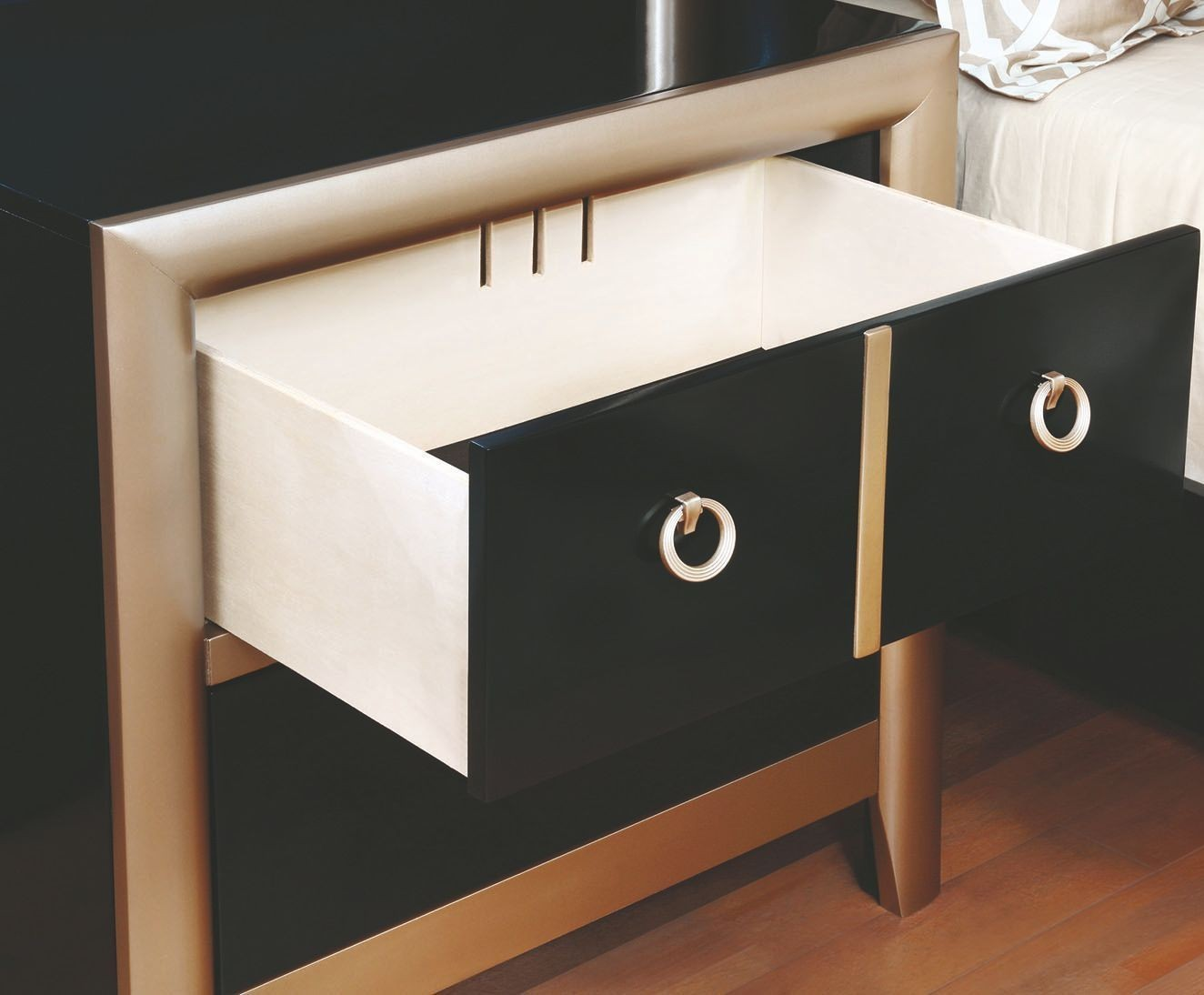 Zovatto Nightstand In Black and Gold Finish