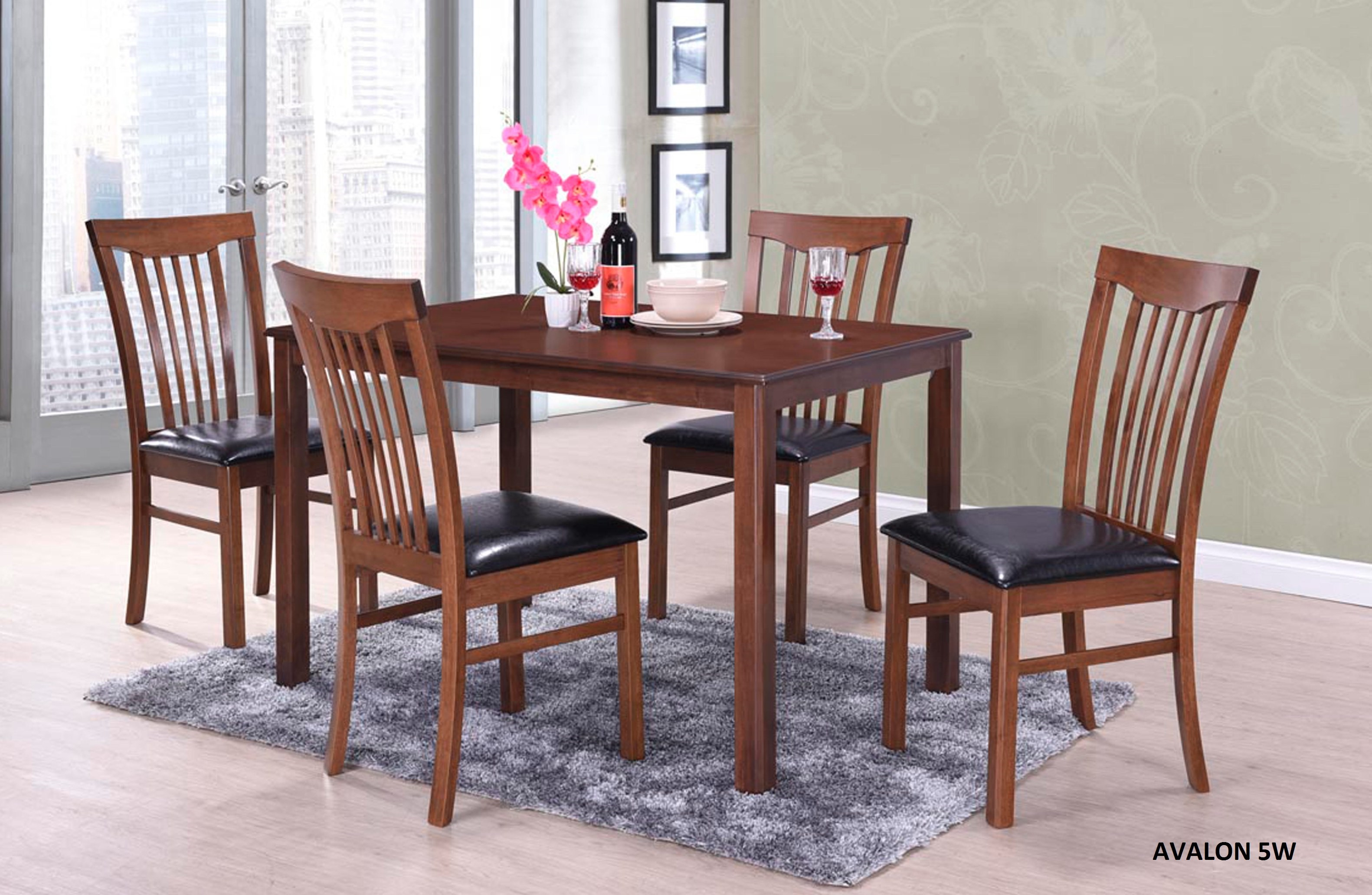 Avalon 5pc. Dining Set in walnut