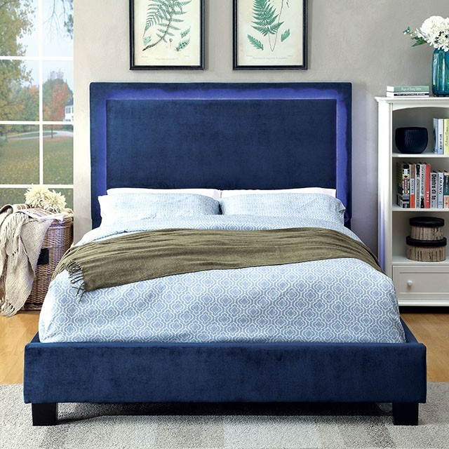 Orion Fabric Queen Platform Bed Frame With LED Lighting In