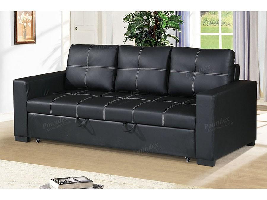 Azis Convertible Sofa in Black