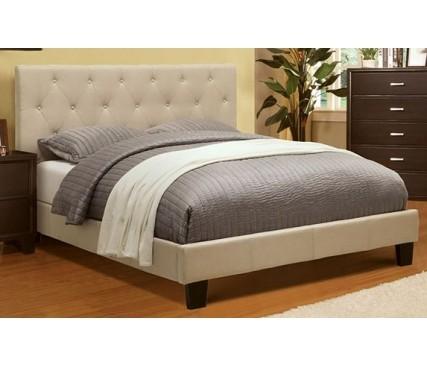 Perdell Ivory Queen Platform Bed & MATTRESS
