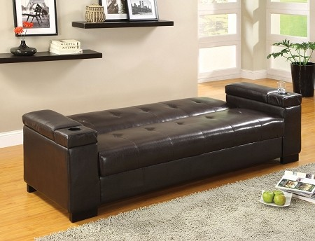 Enrico sofa bed with storage cup holder futons for Loungemobel stauraum