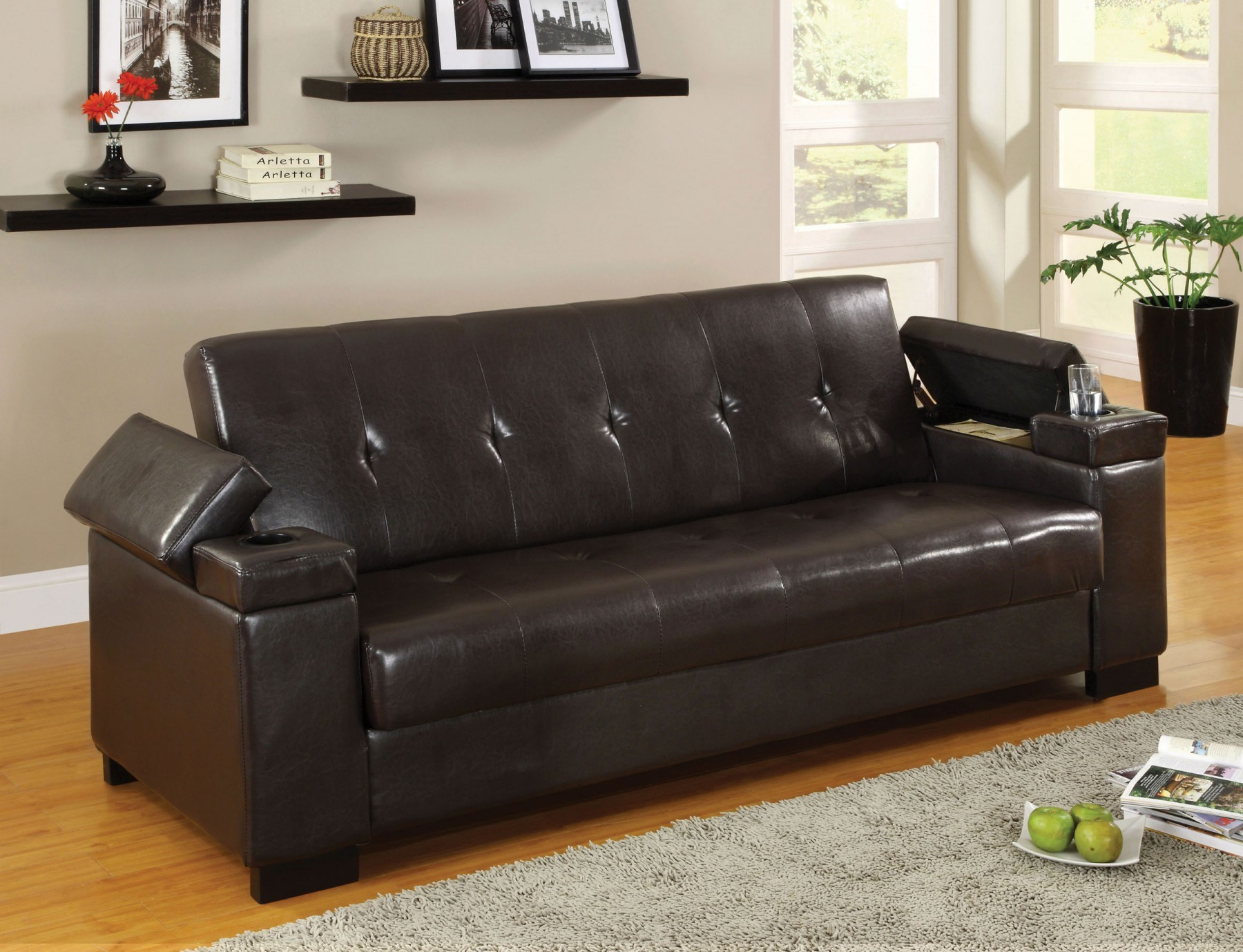 Enrico Sofa Bed With Storage Amp Cup Holder Futons