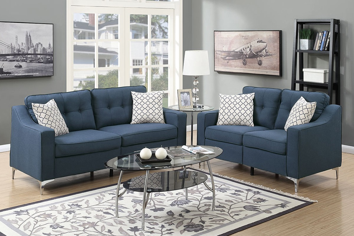 SALE! Connar 2pc. Sofa and Loveseat with Accent Pillows in Blue