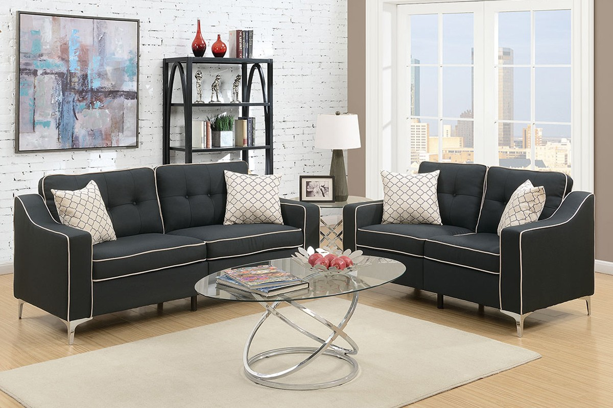 SALE! Connar 2pc. Sofa and Loveseat with Accent Pillows in Black