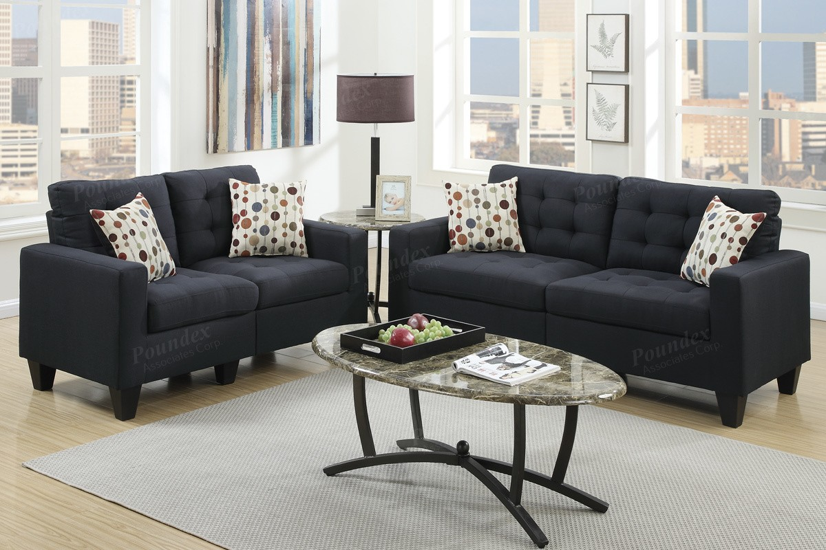 Windsor 2pc Sofa and Lovseat- black