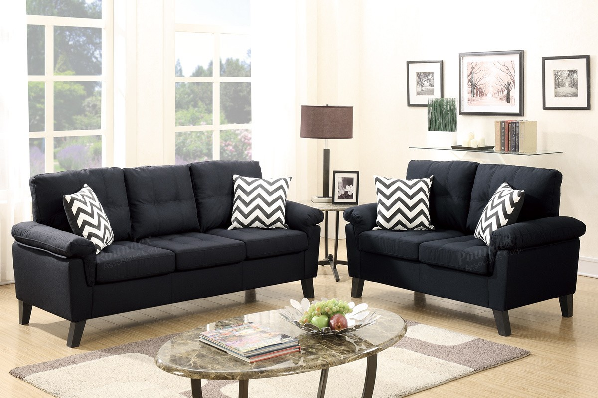 Foreman Sofa and Loveseat in black