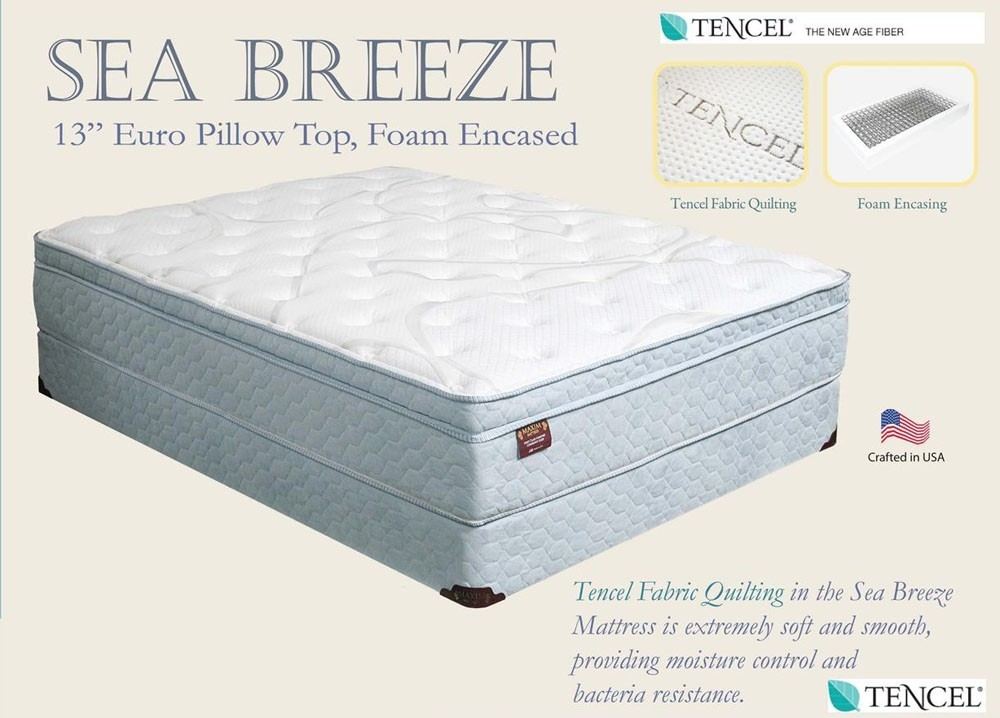 "Sea Breeze 13"" Eurotop Mattress with Tencel"