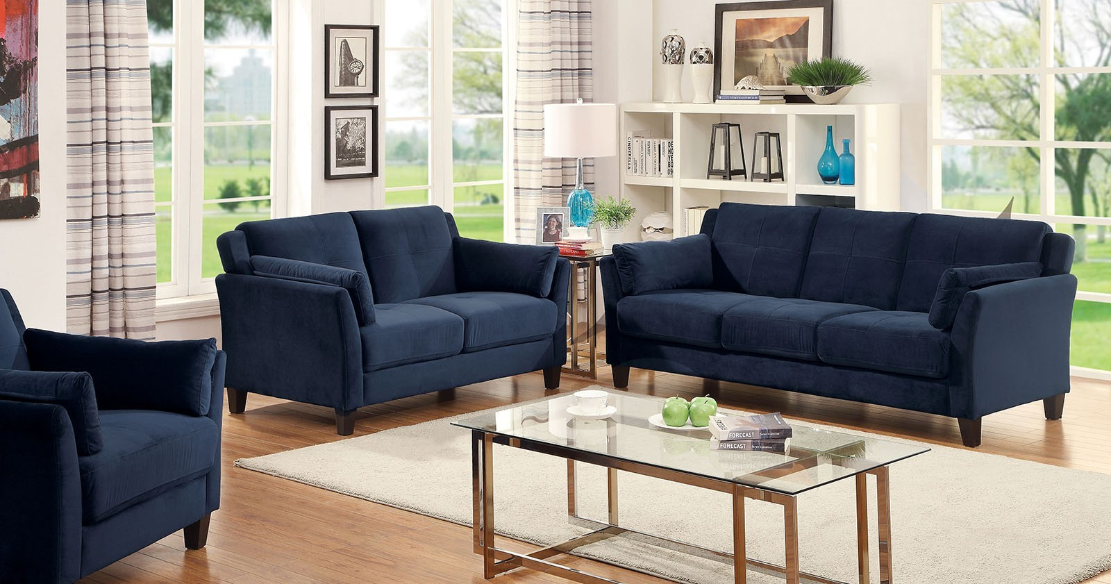 Ysabel 2pc Sofa and Loveseat in blue