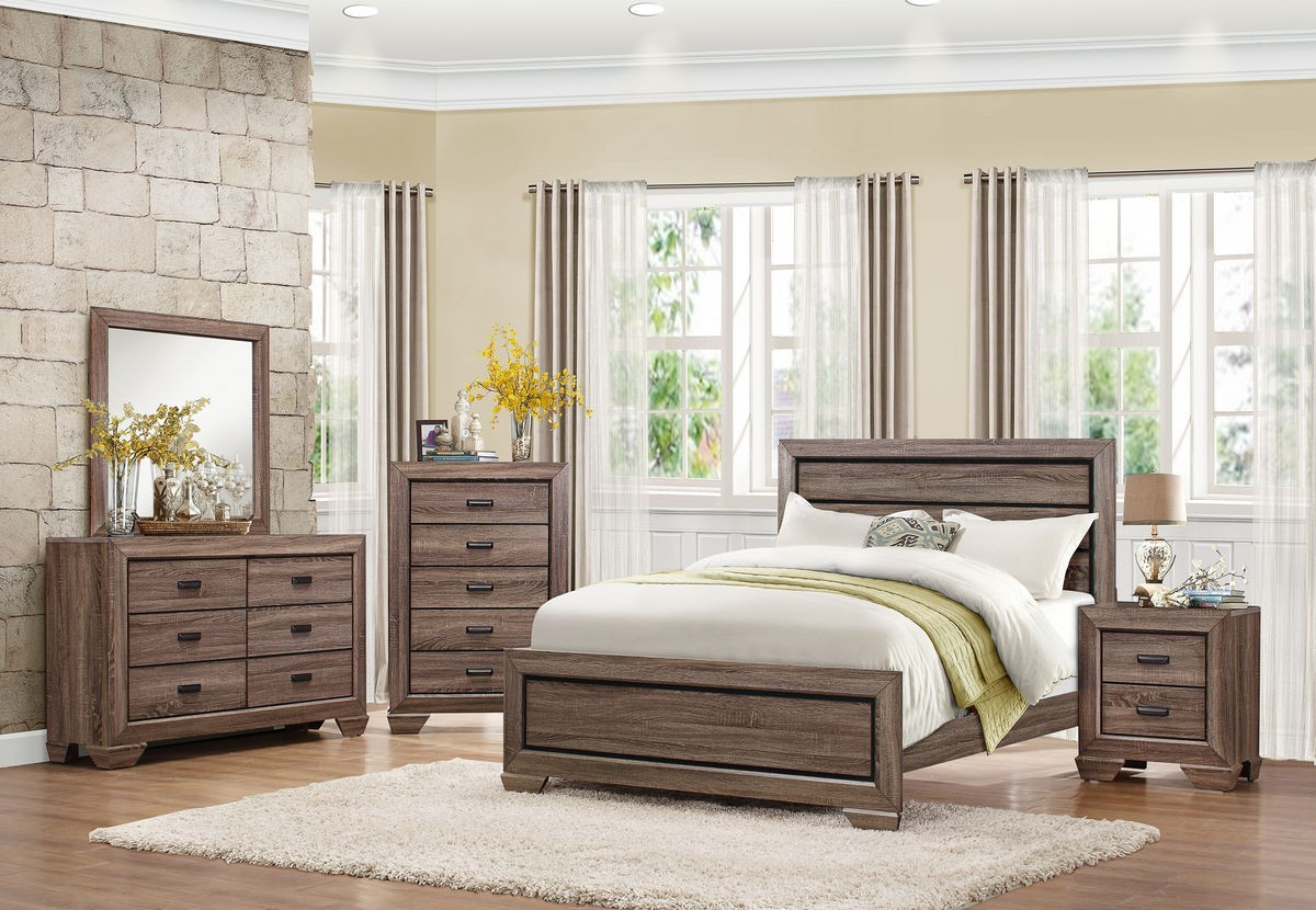 ZENDA  BEECHNUT 4PCS CONTEMPORARY RUSTIC LIGHT QUEEN BEDROOM SET