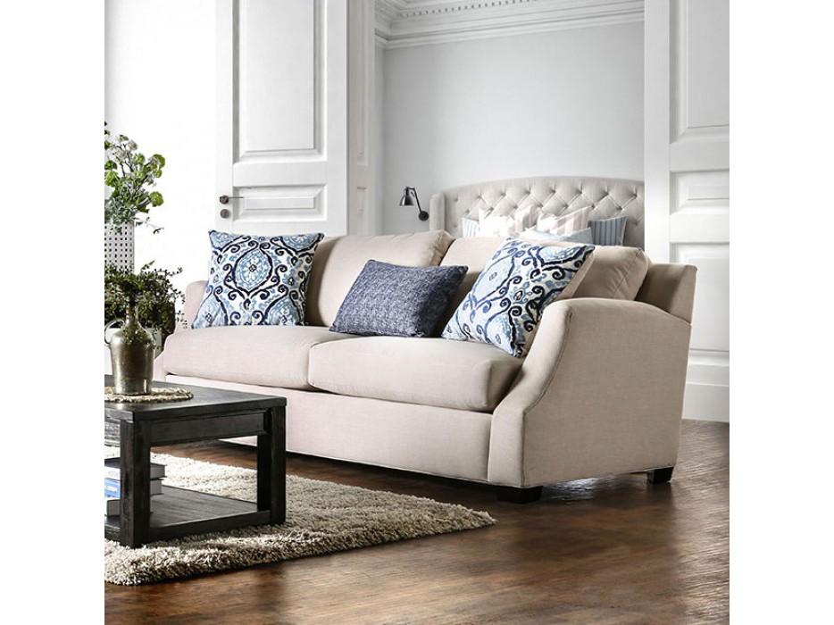 Beltran Blue/Beige Chenille Sofa