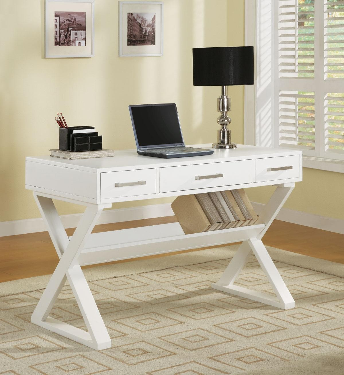 White Desk With Three Drawers