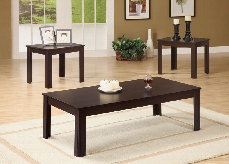 Korina Dark Brown 3 Piece Coffee End Table Set Coffee Table Sets