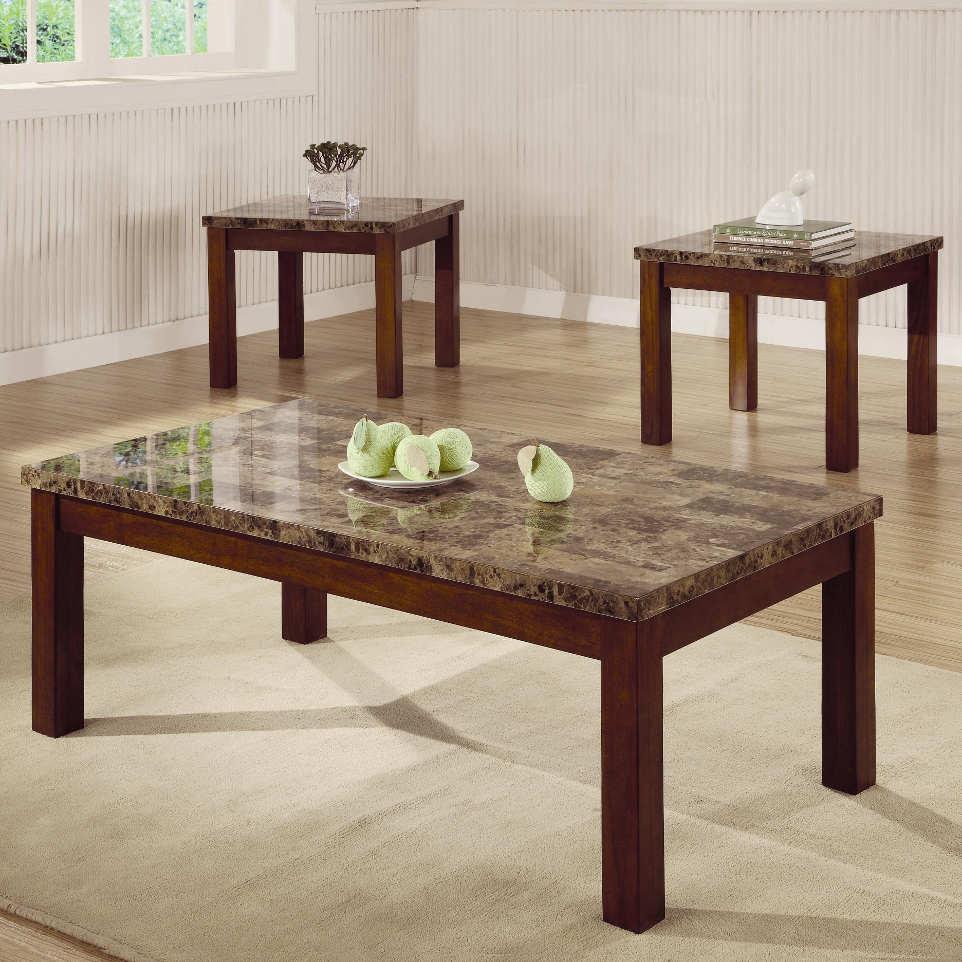Arden 3 Piece Marble Look Top Coffee/End Table Set - Coffee Table ...