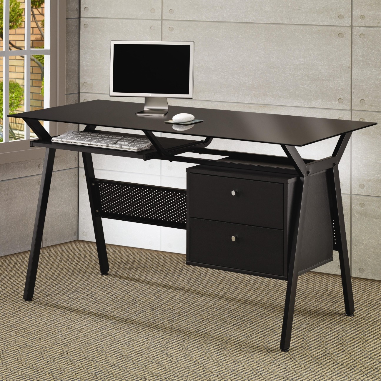 Kendall  Glass Computer Desk with Two Drawers
