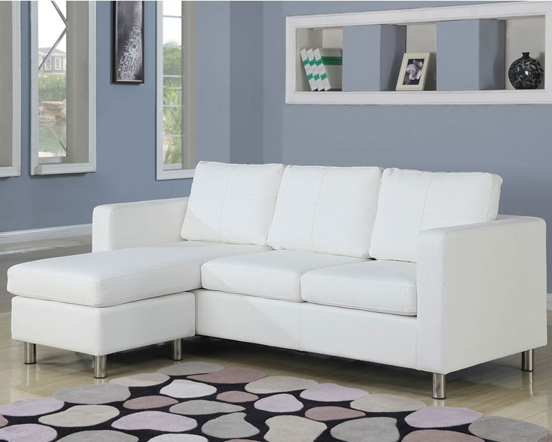 Reynold White Bycast PU Sectional Sofa