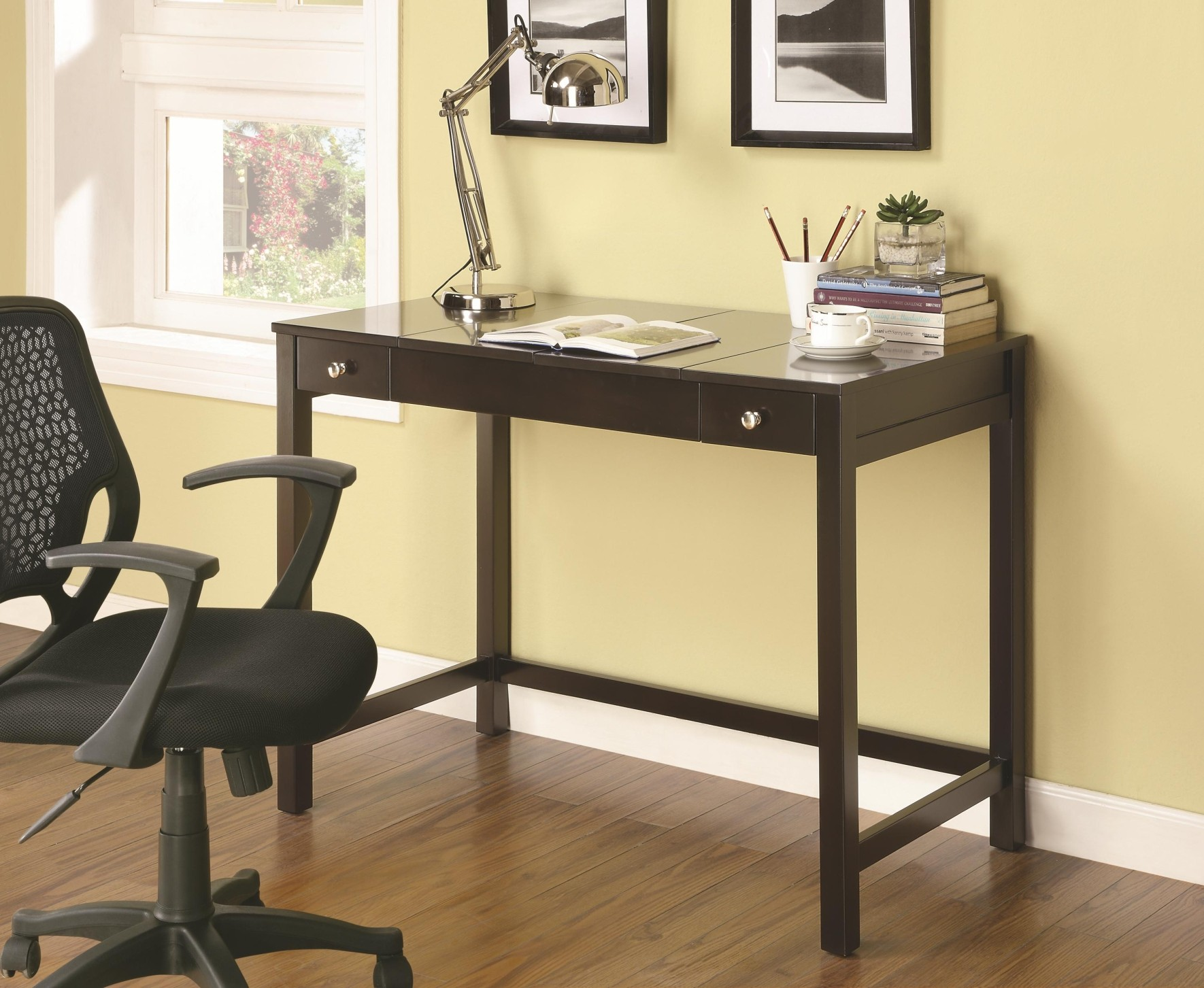 Mosi Cappuccino Finish Desk with Flip Top