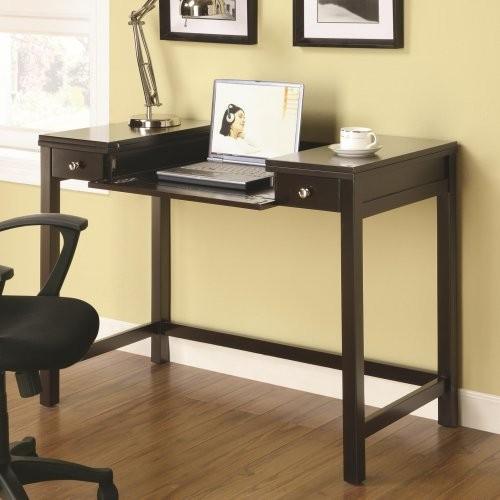Mosi cappuccino finish desk with flip top computer desks for Flip top computer desk