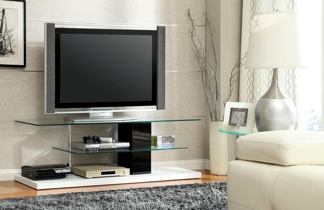 Nuevo White/Black Finish Contemporary TV Stand