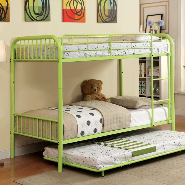 Rainbow Twin / Twin Bunk Bed - Green