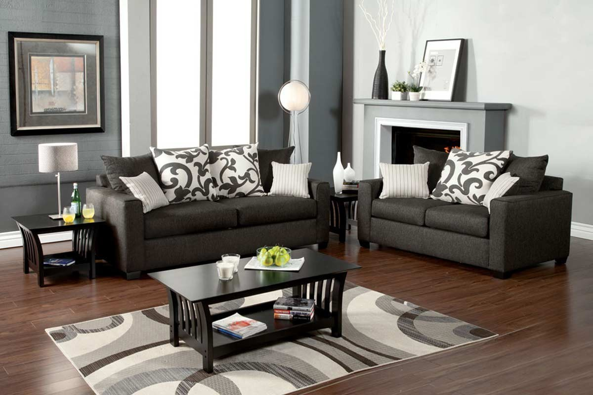 Hermosa Sofa Loveseat Set Gray
