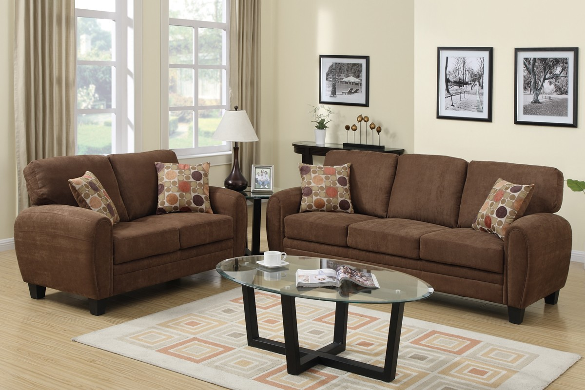 Ruby sofa and loveseat saddle brown