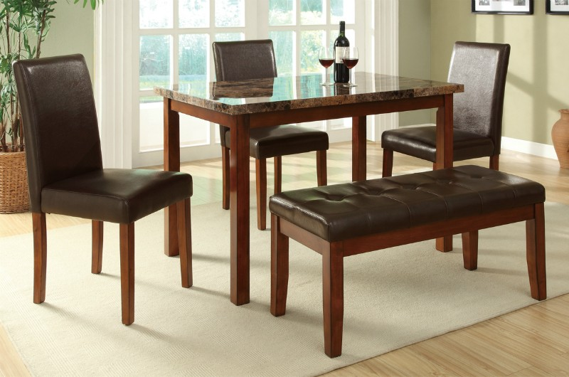 Marlon 5 pc Brown Leather Dining Table and Chair Set