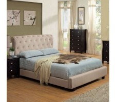 Kenneburry Beige Finish Velvet Queen Bed