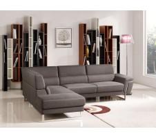 Divani Casa Navarro Modern Brown Fabric Sectional Sofa