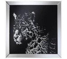 Clear and Black Leopard Mirror