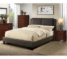 Alec Queen Platform Bed frame in dark brown