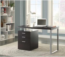 wynham Desk with Cabinet cappuccino finish