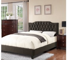 Ashton Queen Fabric Platform bed in ash black