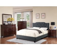 Ashton Queen Platform Bed in blue grey