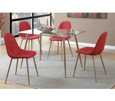 Kora 5 Piece Dining Set in Red