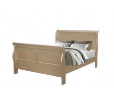 Louis Phillipe Queen Bed Frame in Metallic Champagne