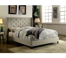 Malibu Wind Back Queen Platform Bed Frame in Beige