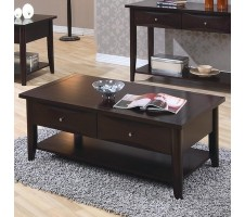 Orianna Coffee Table with Drawers and Shelf
