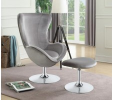 Leroy Chair and Ottoman in Grey
