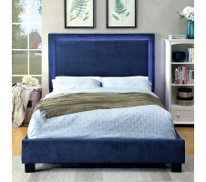 Orion Fabric Queen Platform Bed Frame with LED lighting in navy