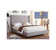 Wingback Upholstered Platform Bed Frame - Grey