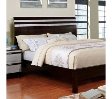 Euclid Queen bed Frame in Espresso &Silver Trim