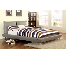 Maxon Gray Low Profile Design Queen Size Bed