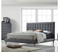 Valdor Light grey Fabric Queen Platform Bed