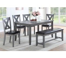 SALE! Dakota 6pc. Dining set with Bench in Grey