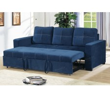Azis Convertible Sofa in Navy