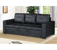 Azis Convertible Sofa in Black
