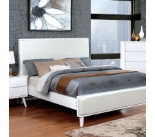 Lennard Mid Century Queen Bed Frame in White